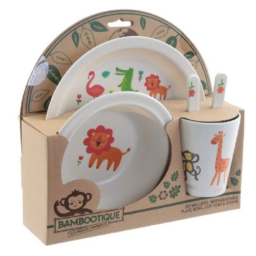 Bambootique Eco Kids Dinner Set, Zoo Design